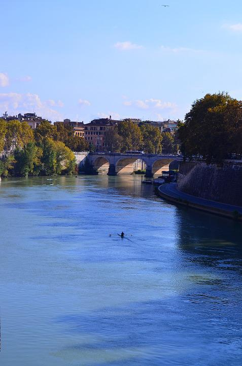Rome, Tiber, Bridge, River, Summer, Day, Greens, Boat