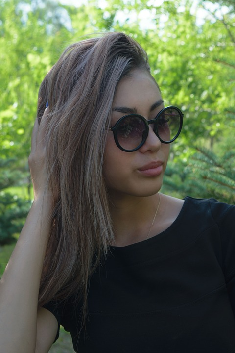 Girl, Glasses, Portrait, Greens, Hair