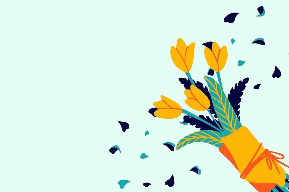 Flowers, Bouquet, Greeting Card, Digital Art