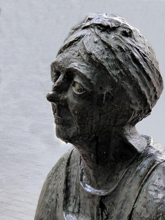 Stone Sculpture, Grey, Bust, Woman, Artwork, Face
