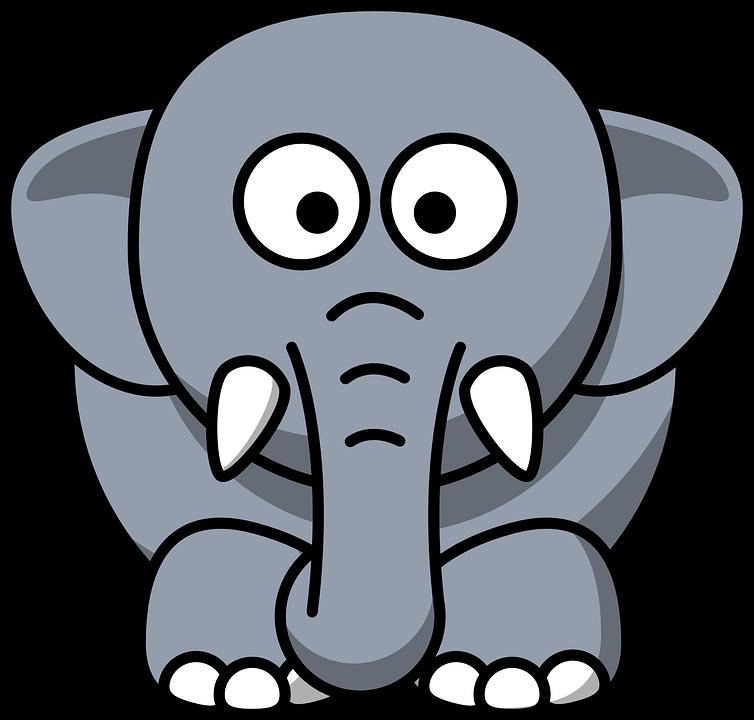 Elephant, Animal, Mammal, Black, Grey, Baby, Large