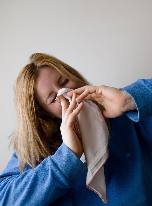 Woman, Blow, Blowing, Nose, Hand Chief, Grey, Blond