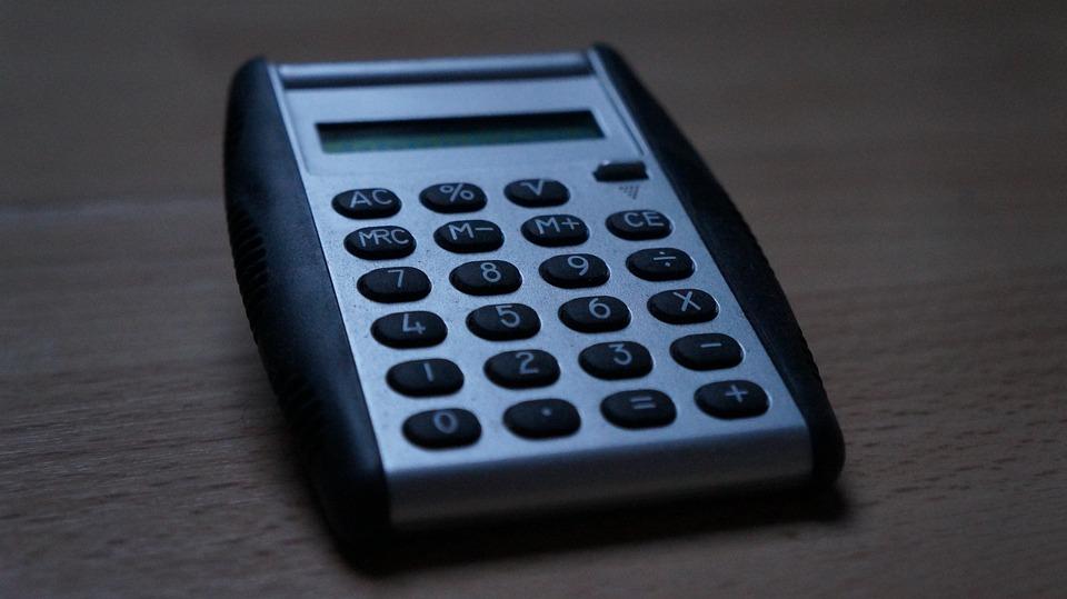 Calculator, Grey, Oblique