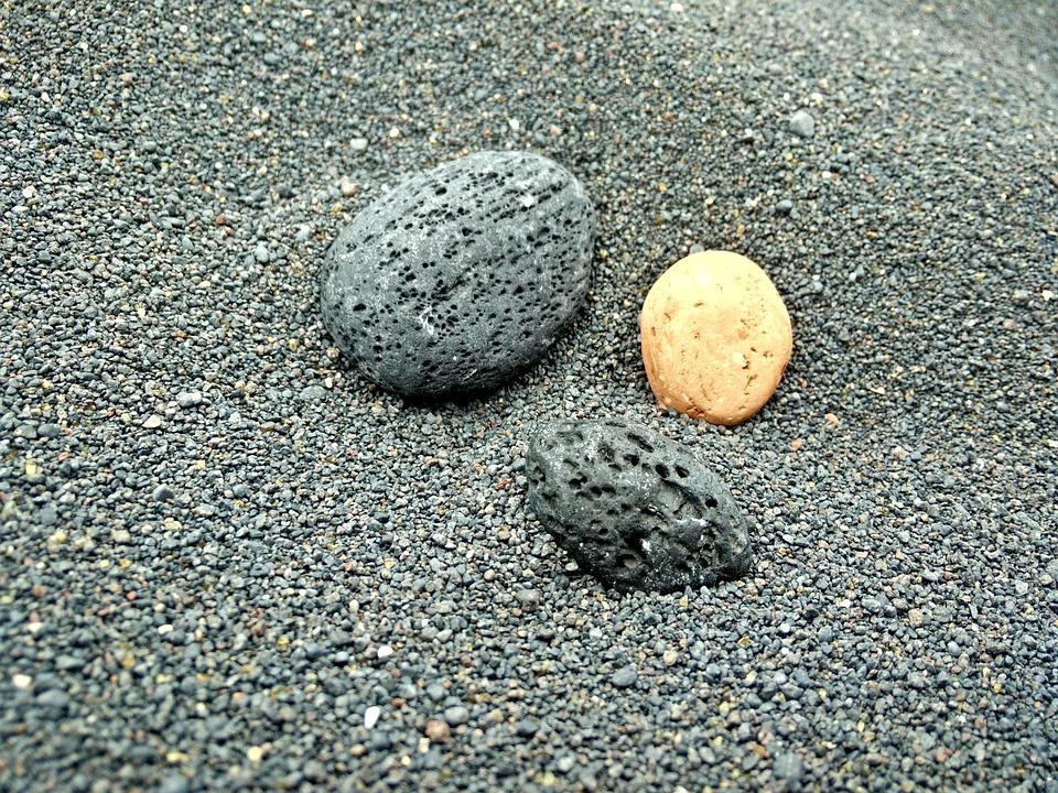 Sand Pebble Stones Pebbles Beach Black Grey
