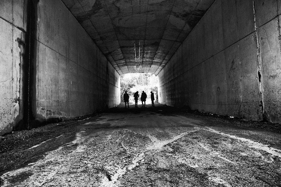 Free Photo Grey Tunnel People Shadows Max Pixel