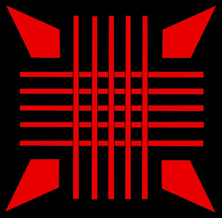 Arrows, Pointed, Red, Cross, Crossed, Grid