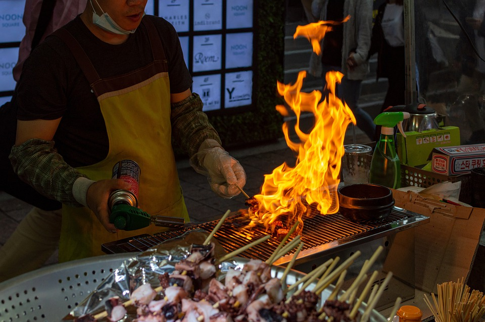Grill, Barbecue, Torch, Flames, Myeongdong, Street Food