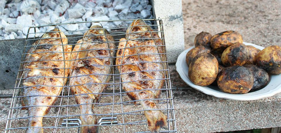Bbq, Barbecue, Grilled Fish, Fish, Grilled Potatoes