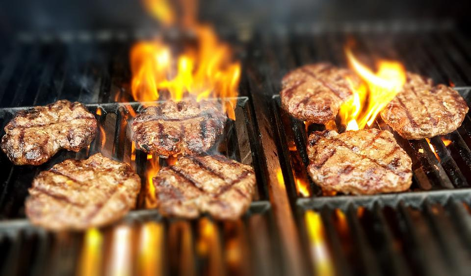 Burgers, Fire, Grill, Grilling, Brown Fire