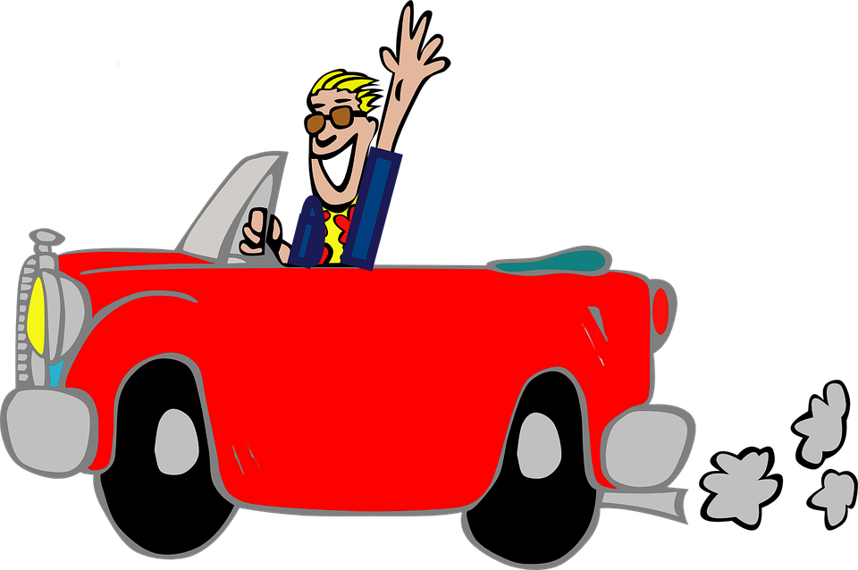 Man, Car, Fun, Greeting, Grinning, Suit, Cartoon, Red
