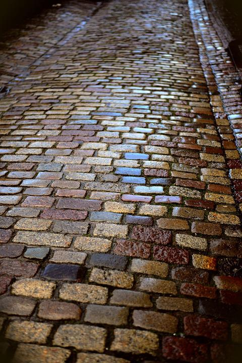 Patch, Road, Wet, Ground, Away, Pattern, Cobblestones