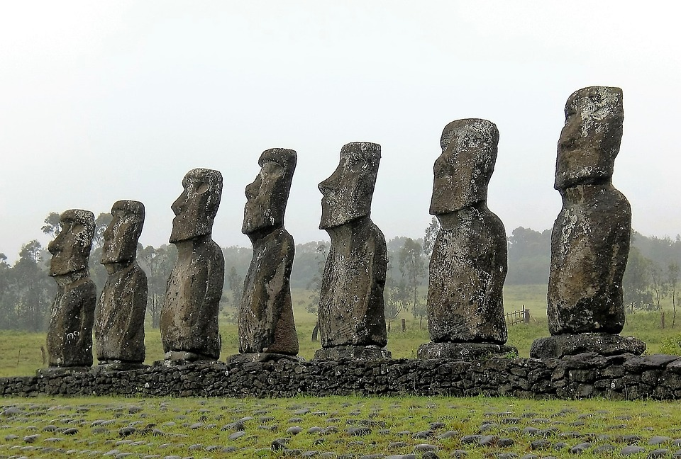 Easter Island, Row, Stone, Faces, Upright, Group