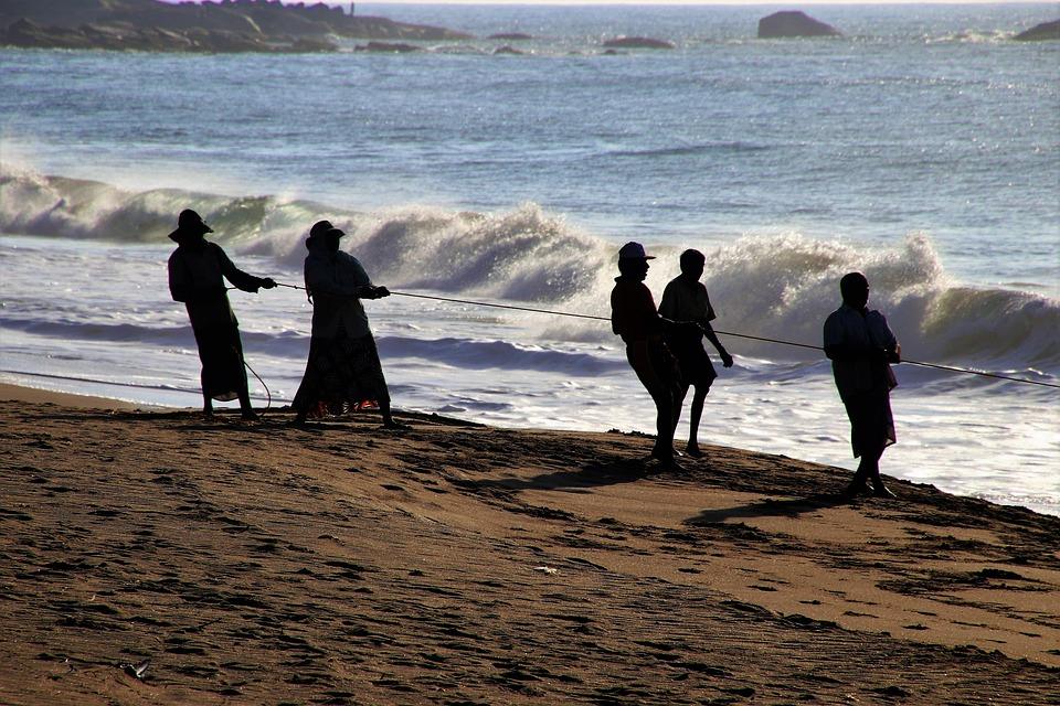 Ocean, The Fishermen, Characters, Beach, Wave, Group