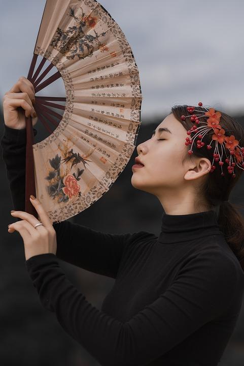 Woman, Fan, Asian, Black, Group, Portrait, Women, Girl