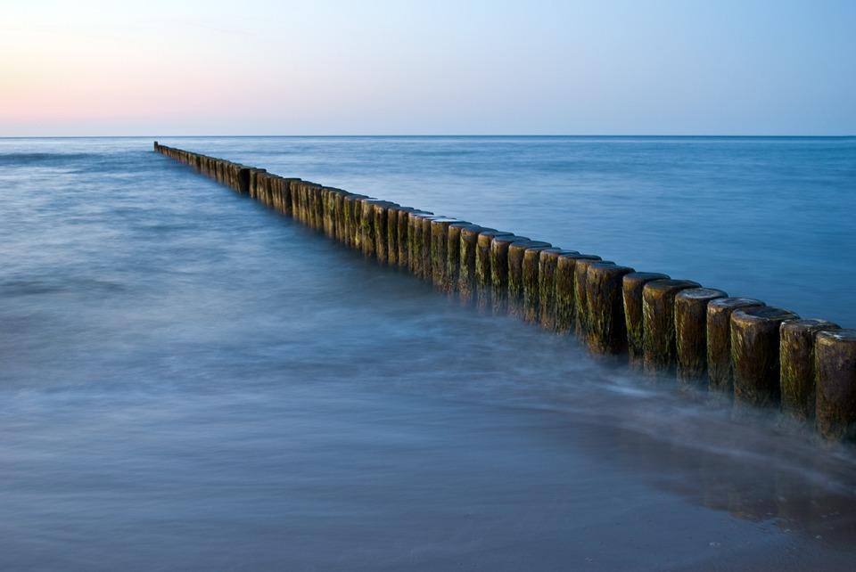 Groynes, Sea, Baltic Sea, Beach Landscape, Evening Sun
