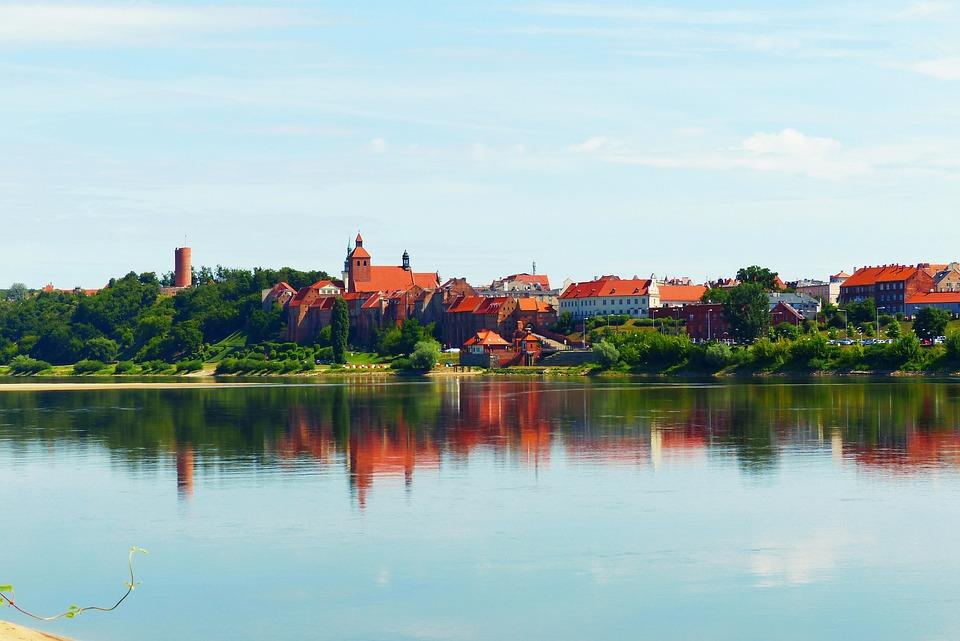 Landscape, River, Wisla, Grudziadz, Poland, Reflections