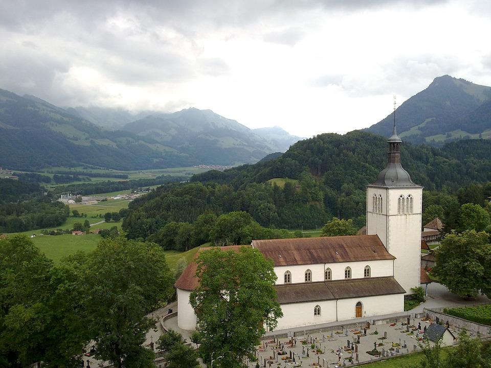 Mountain, Field, Green, Trees, Alps, Gruyère