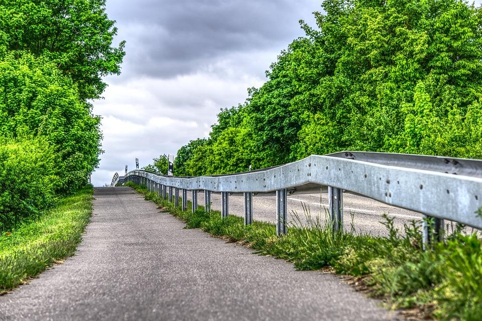 Cycle Path, Away, Road, Guard Rail, Demarcation, Limit