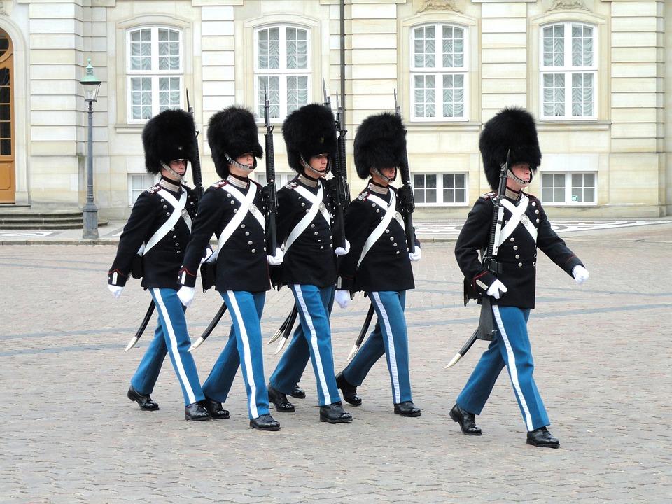 Guards, Amalienborg, Palace, Copenhagen, Denmark