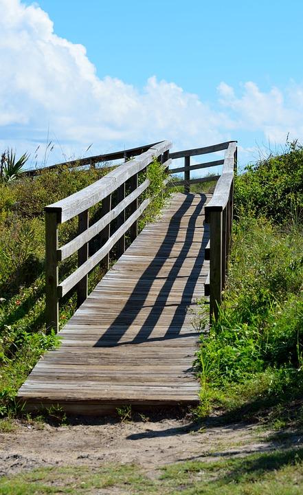 Step, Guidance, Sky, Summer, Wooden, Empty, Footpath