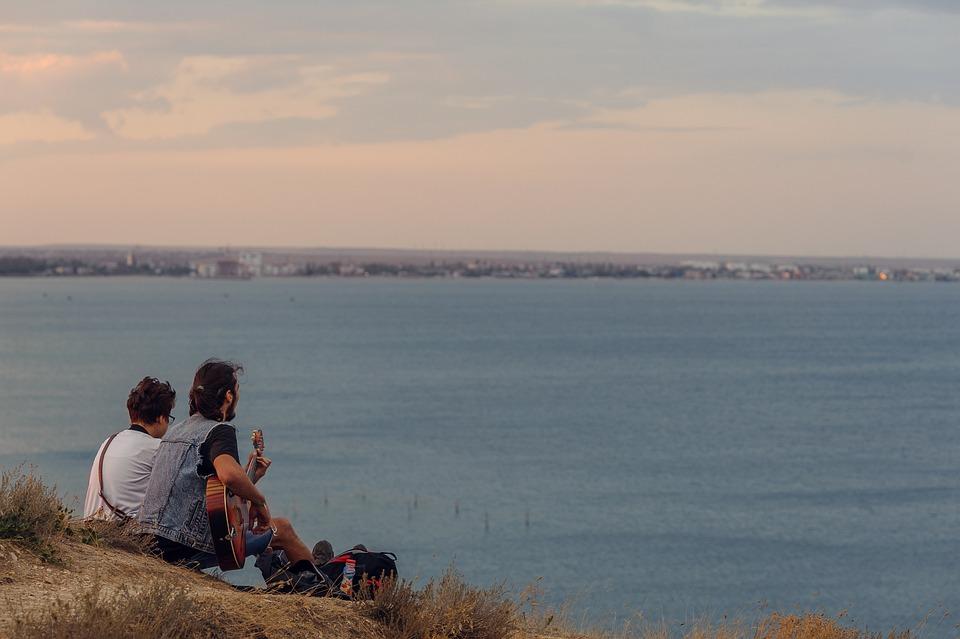 Russia, Crimea, Sea, Sunset, Two, People, Man, Guitar