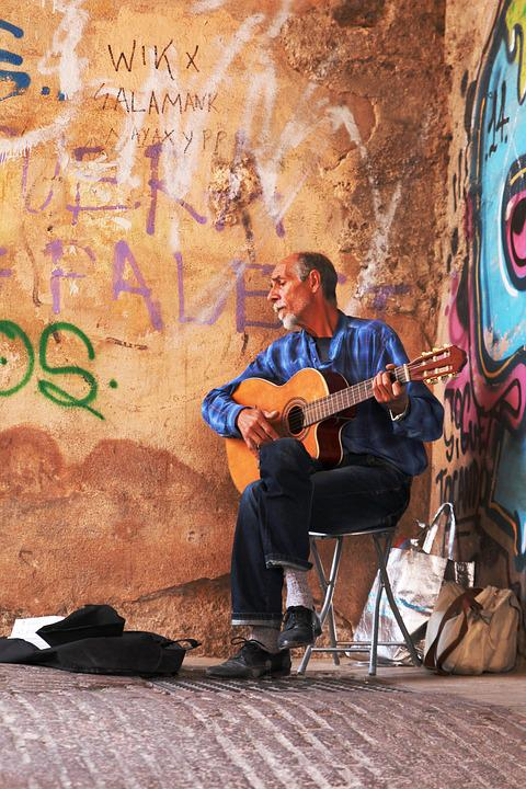 Graffiti Wall, Guitar, Street Art, Street Artist