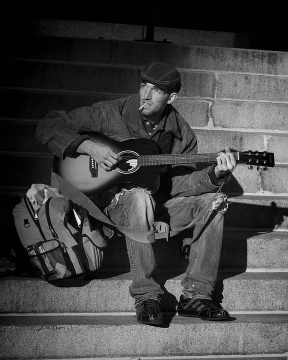 Man, Guitar, Homeless, Musician, Street Musician, Hobo