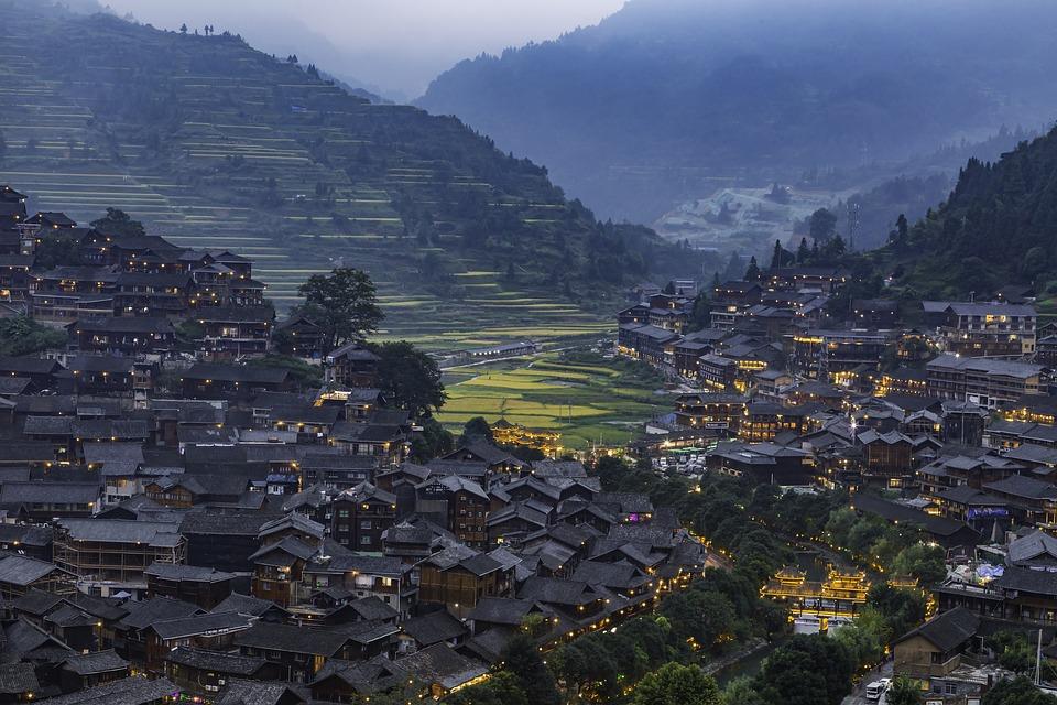 Qianhu Miao Village, Night View, Guizhou, China