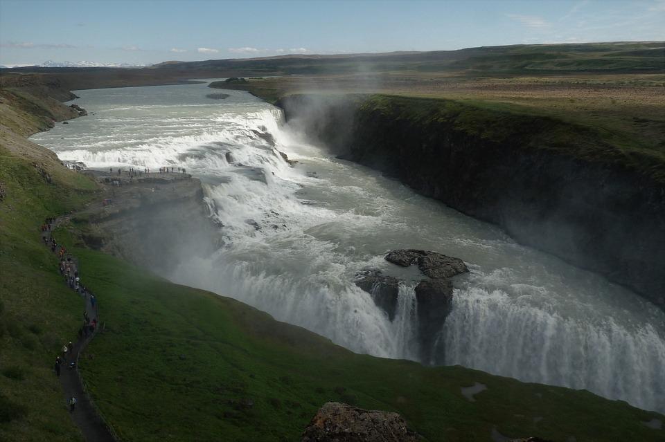 Waterfall, Tourism, Gullfoss, Iceland, Scenic, Dramatic
