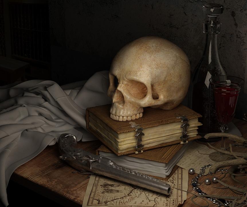 Skull, Dark, Map, Book, Gun, Still Life