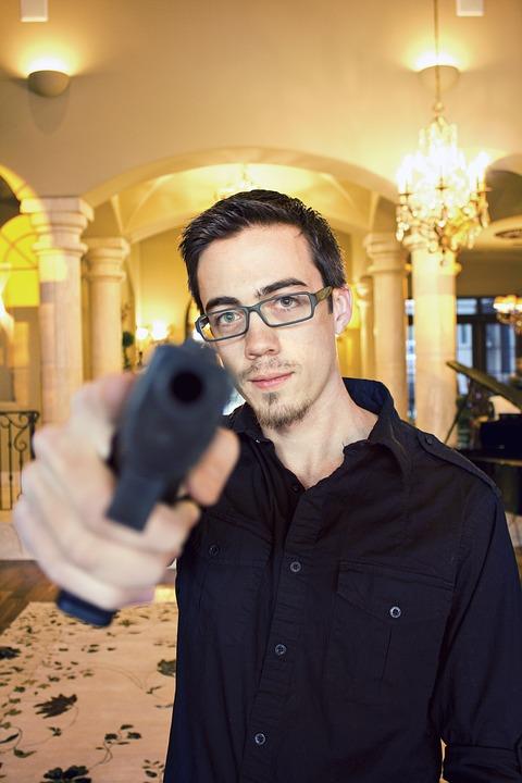 Gun, Home, House, Gunpoint, Person, Male, Defense