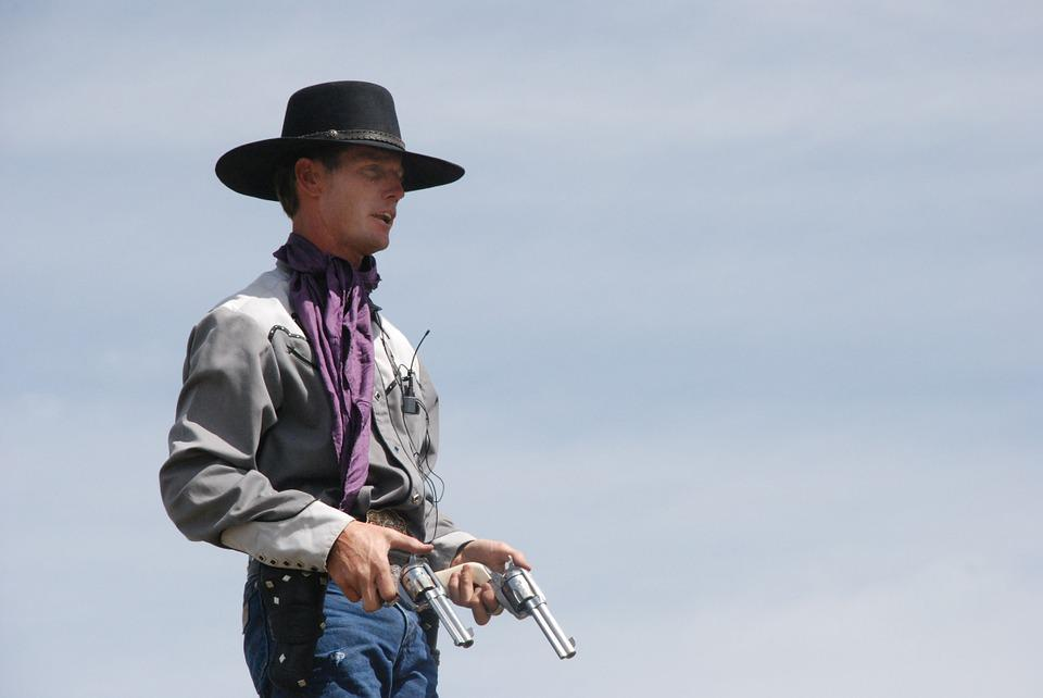 Cowboy, Guns, Western, Revolver, Pistol, Sky, Blue Gun