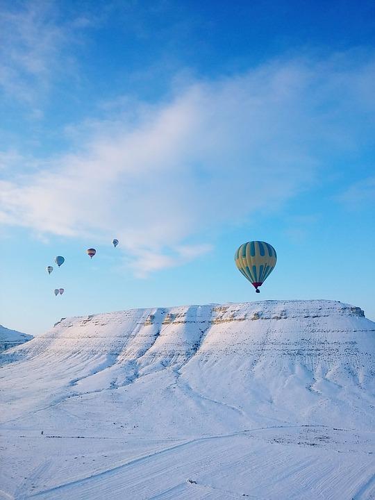 Hot Air Balloon, Turkey, Snow, Gur, Travel, Sky, Cloud