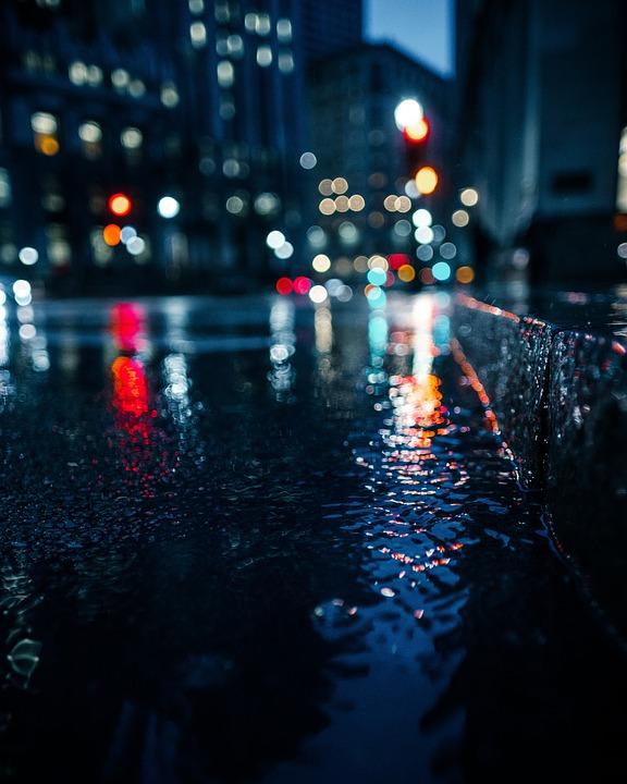 Bokeh Lights, Wet, Gutter, Street Gutter, Street