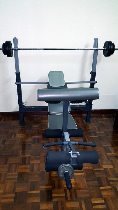 Gym, Equipment, Barbell, Bench Press, Parquet, Weights