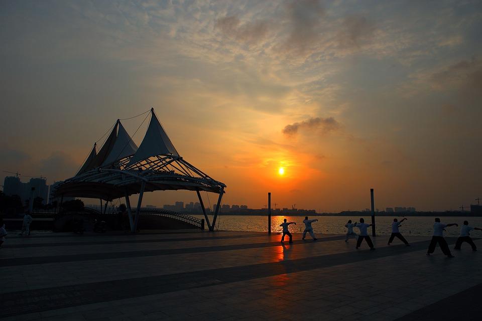 Sunrise, Morning, Lakefront, Gymnastics