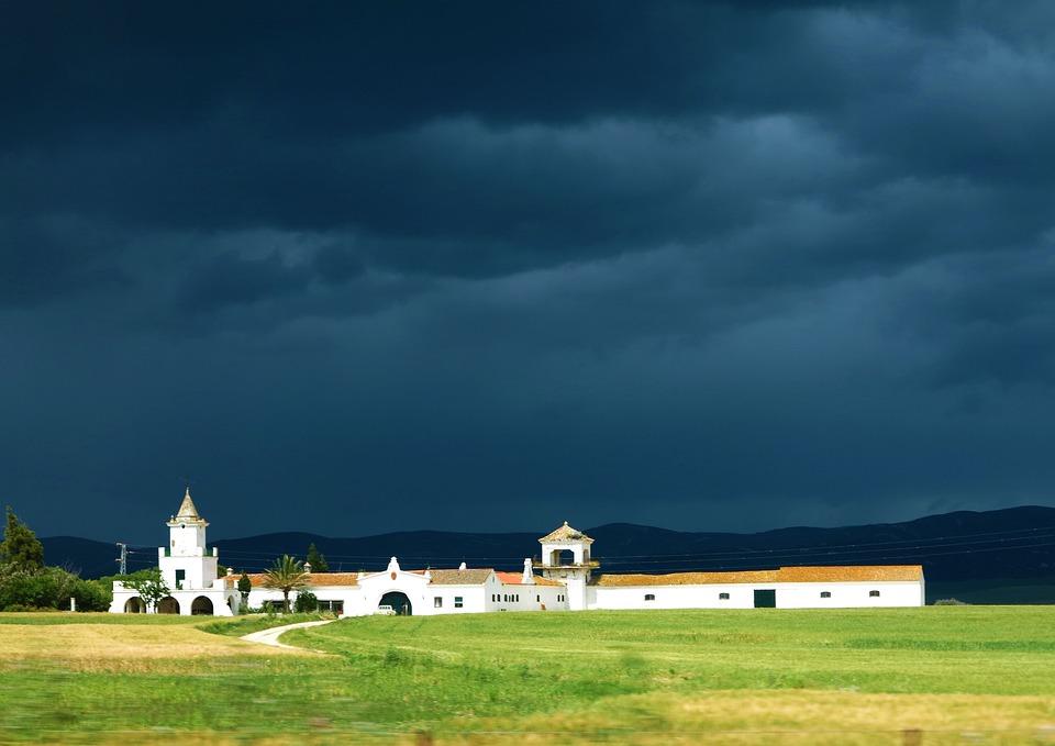 Hacienda, Villa, House, Spain, Storm, Rain Clouds