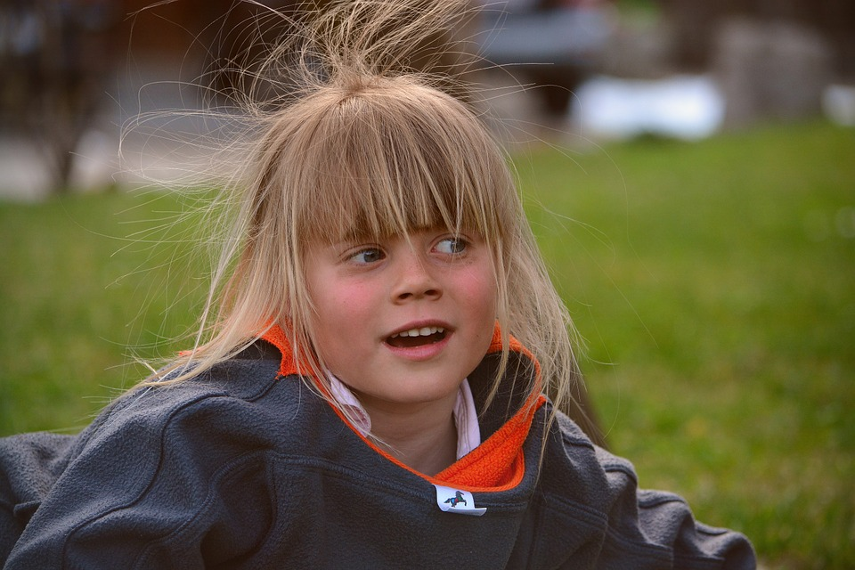 Child, Girl, Blond, Hair, Wind, Stick Out, Surprised