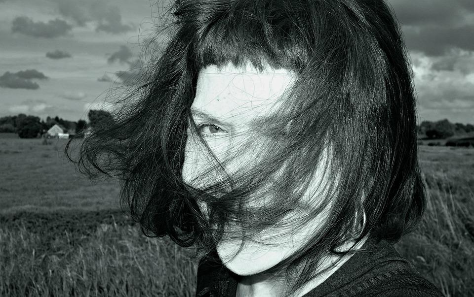 Portrait, Face, Woman, Caucasian, Hair, Windblown