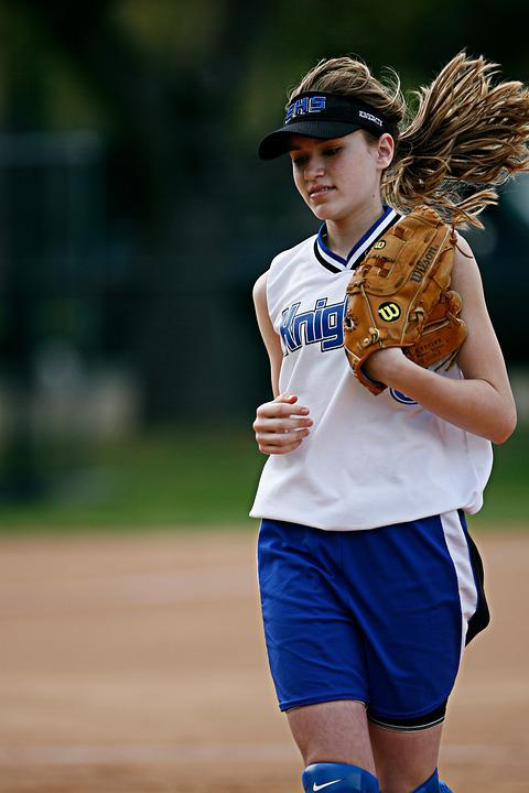 Softball, Player, Running, Glove, Hair, Game