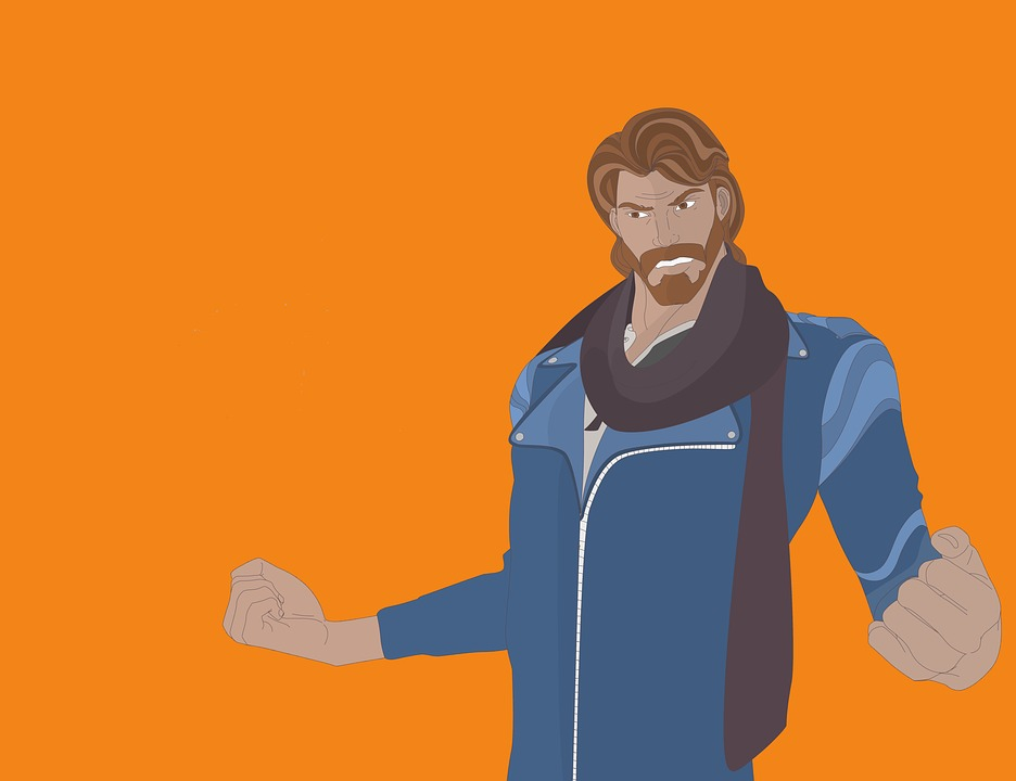 Man, Jacket, Beard, Skinny, Hair, Blue, Brown, Mustache