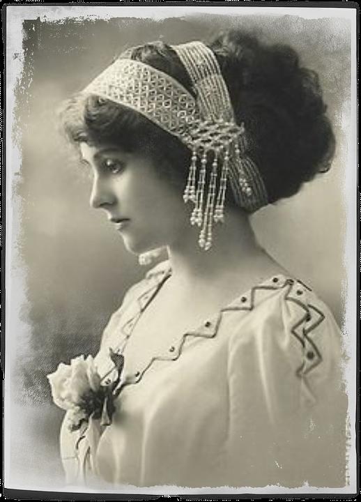 Vintage, Woman, Art, Collage, Hair, Pearls, Headband