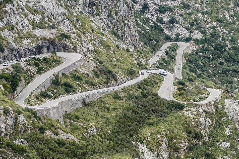 Mallorca, Tramuntana, Pass Road, Hairpin Bends