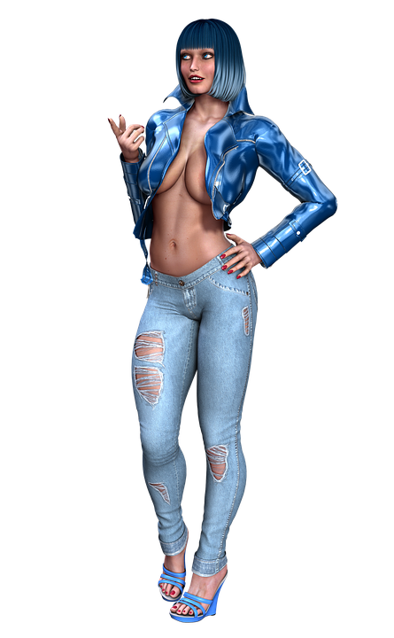 Girl, Fashion, Hair, Blue, Attractive, Hairstyle, 3d
