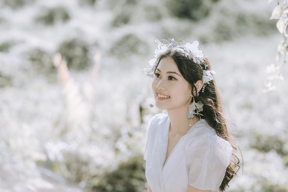 Woman, Asian, Model, White Dress, Headdress, Hairstyle