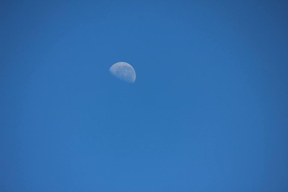 Half, Moon, Blue Sky