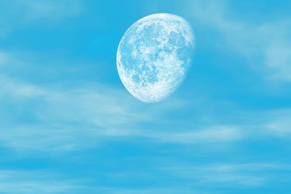 Moon, Sky, Clouds, Half Moon, Blue Sky, Atmosphere