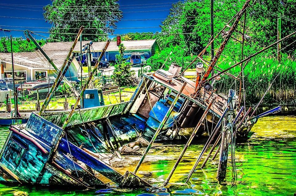 Half-sunk Wreak - Old, Wreak, Marina