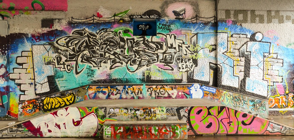 Graffiti, Art, Skateboard, Halfpipe, Pipe