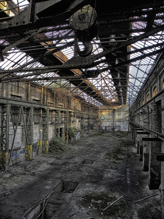 Industrial Hall, Factory Building, Factory, Hall, Old
